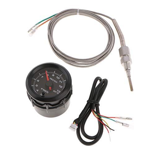 B Baosity 2\'\' 52mm LED Digital Abgastemperaturanzeige mit Sensor für alle 12V Fahrzeug Auto