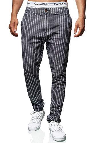 Indicode Herren Santa Lucia Stoffhose aus 98% Baumwolle mit 4 Taschen | Lange Regular Fit Hose gestreifte Herrenhose Stretch Baumwollhose Sommerhose Freizeithose für Männer Navy 30/34