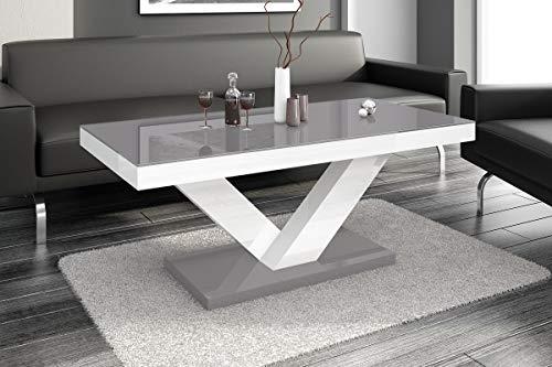 Design Couchtisch HV-888 Grau/Weiß Hochglanz Highgloss Tisch Wohnzimmertisch