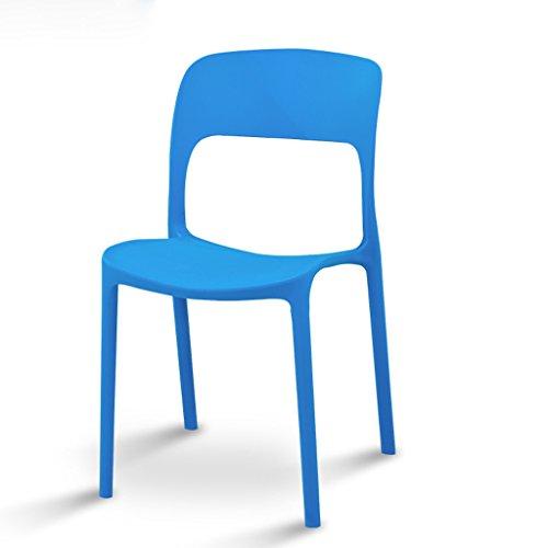 CKH Rugleuning voor stoelen, verdikking, kunststof, eettafel, stoel, conferentie, school, stoel, vrije tijd, balkon, kruk, eenvoudige modus, blauw, groen, oranje, wit Blauw