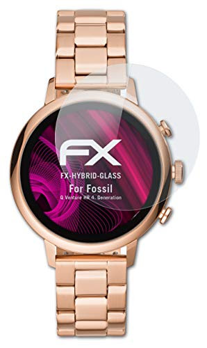atFoliX Glasfolie kompatibel mit Fossil Q Venture HR 4. Generation Panzerfolie, 9H Hybrid-Glass FX Schutzpanzer Folie