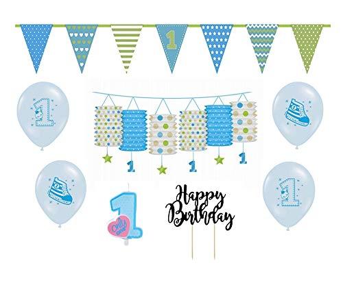 Feste Feiern Kindergeburtstag Jungen erster 1. Geburtstag 8 Teile Deko-Set hellblau blau bunt Happy Birthday Kleiner Prinz