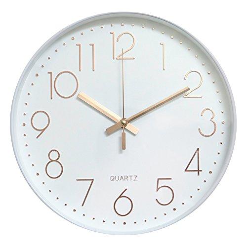 Dobess 12 Zoll Modern Quartz Lautlos Wanduhr Schleichende Sekunde ohne Ticken (Weiß & Rosegold)
