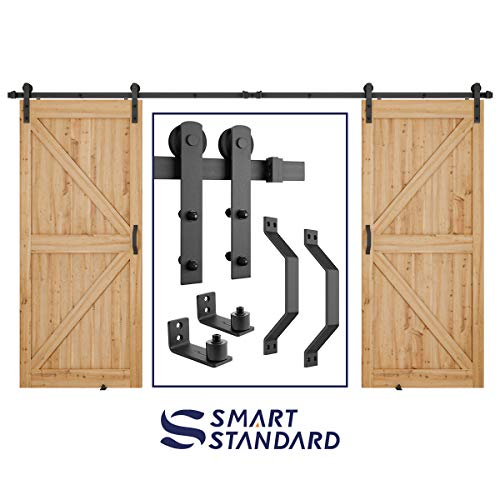 10ft Heavy Duty Double Door Sliding Barn Door Hardware Kit - Smoothly and Quietly - Simple and Easy to Install - Includes Step-by-Step Installation Instruction - Fit 30' Wide Door Panel(I Shape)