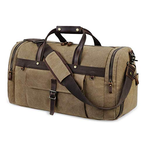 Naxdawon Canvas Travel Duffel Bag for Men 55L Large Capacity Duffel Overnight Weekend Bag Retro Carry on Bag Shoulder Handbag for Travel Business Sports School Outdoor (Khaki)