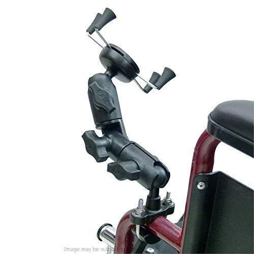 Rollstuhl U-Bolzen Halterung mit Doppel Steckdose Schwenk Arm und X-Grip Universal Handyhalter ( Sku 21550 )