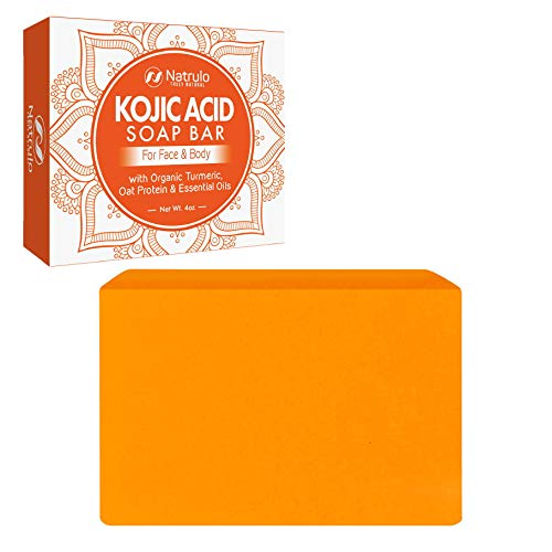 Kojic Acid Soap Face & Body Wash – Natural Brightening, Lightening Skin Cleanser Dark Spot Corrector Acne Scar Remover with Turmeric, Oat Protein & Essential Oils – Brightens, Lightens the Whole Body