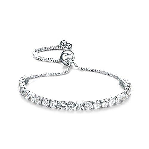 ASHMITA Fashion Adjustable Chain Bracelet for Women,Cubic Zirconia Platinum Plated Gift Bracelet of Luxury Shining Jewelry