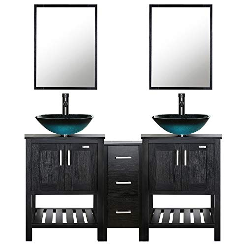 eclife 60'' Bathroom Vanity Sink Combo Black W/Small Side Cabinet Vanity Turquoise Square Tempered Glass Vessel Sink & 1.5 GPM Water Save Faucet & Solid Brass Pop Up Drain, With Mirror (A10 2B06)