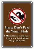 Placa decorativa de aluminio con texto en inglés 'Please Don't Feed The Water Birds It Make Them Sick' de metal, 20 x 30 cm