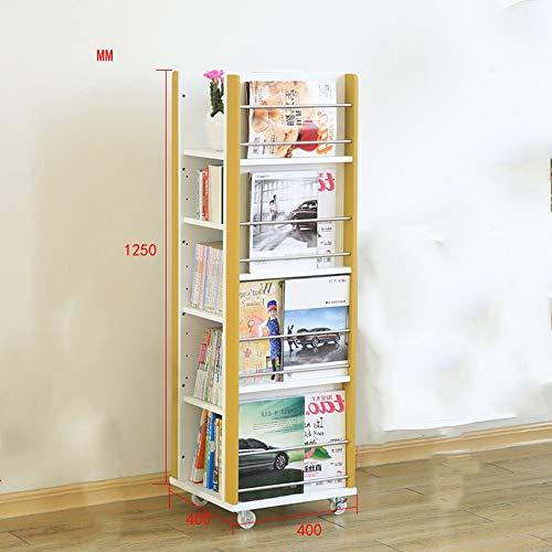 HUO,本棚 ソリッドウッドの本棚車輪付き可動式回転マガジンラックフロアラックマガジン新聞ラック-125 * 40...