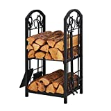 Patio Watcher Firewood Rack Log Rack with 4 Tools Firewood Storage Log Holder for Indoor Outdoor Backyard Fireplace Heavy Duty Steel Black