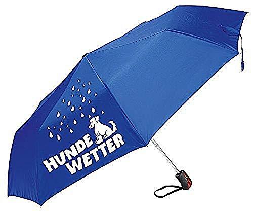 GILDE Lustiger Regenschirm Spruch Hundewetter blau/weiß
