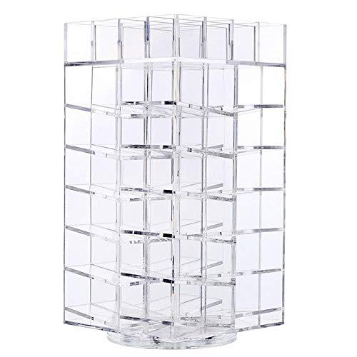 BEI&YANG Présentoir Acrylique Transparent pour Rouge À Lèvres 64 Grille Présentoir Cosmétique De Cadre De Rouge À Lèvres Rotatif