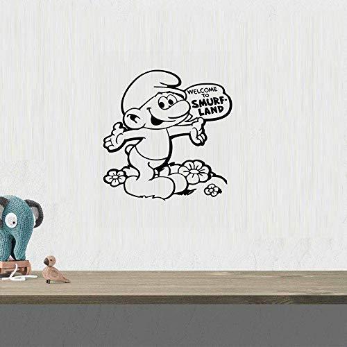 Le personnage de film de bande dessinée Schtroumpfs Bienvenue sur Schtroumpf Land Stickers Muraux Stickers Art Decal Garçons Filles Bébé Chambre Fun Home Decor