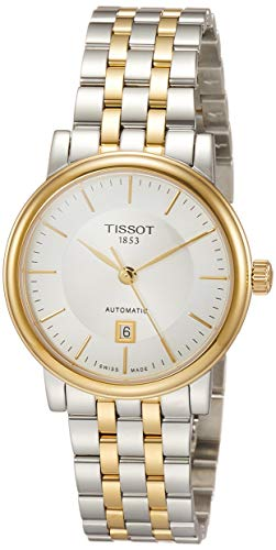womens Carson Auto Stainless Steel Dress Watch Yellow Gold 1N14,Grey - Tissot T1222072203100