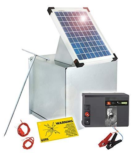 Eider SOLAR-Elektrozaun: 12 Volt Weidezaungerät Kleintierschreck, Metallbox & 10 Watt Solar Modul - umweltfreundlicher Solar Strom - Gerät mit Tiefentladeschutz
