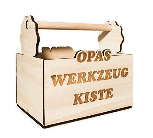 HC-Lasergravur Opas Männerhandtasche Opas Werkzeugkiste 6er Bierträger Herrenhandtasche für Bier lustige sechser Bierträger aus Holz für Geburtstag von Opa 6er Träger aus Holz mit Gravur
