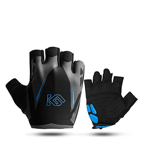 Bicycle Gloves Half Finger Men and Women Summer Sports Shockproof Bicycle Gloves Gel Mountain Bike Bicycle Gloves - 91042 Blue,S