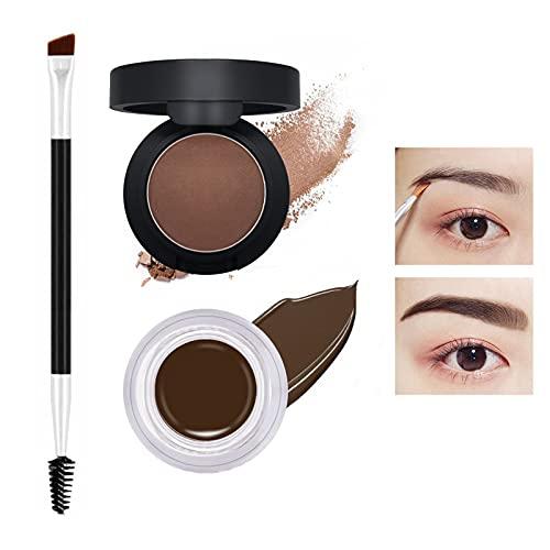 Tinte para cejas, Polvo para cejas, kit de tinte de cejas 2 en 1 profesional para principiantes, pomada de cejas de larga duración que crea cejas de aspecto natural, marrón