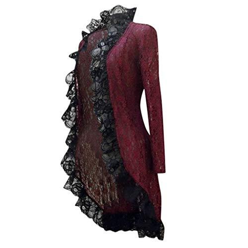 Lomelomme Halloween Smoking Damenjacke mit Spitze Strickjacken Frauen Vintage Langärmliger Jackenmantel Smoking Mantel Nähen