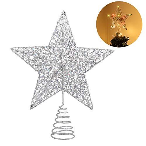STOBOK Albero di Natale Topper luci Albero di Topper Scintillante Argento Stella Decorazioni Albero Stella Luce di Albero per la casa Decorazione dellalbero di Natale