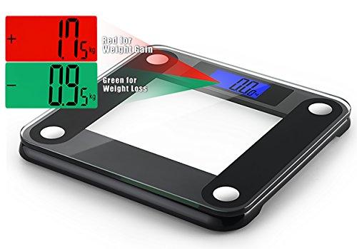 Ozeri Precision II 440 lbs (200 kg) Bath Scale with 50 gram Sensor Technology (0.1 lbs / 0.05 kg) & Weight Change Detection, Black