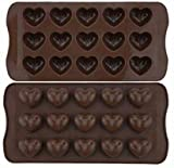 2 Pack Heart Silicone Chocolate Candy Mould/Silicone Cake Mould/Heart Shaped Chocolate Moulds