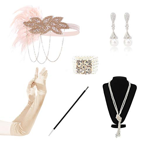 BOER 1920 Accessories Set 1920s Flapper Costume Fancy Dress Gastby Accessories Feather Headband For Women Style J