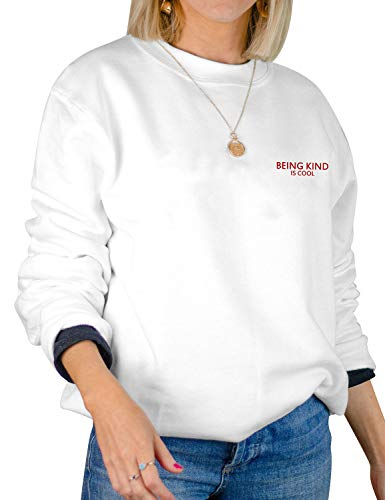 Dresswel Damen Being Kind is Cool Sweatshirt Pullover Rundhals Langarmshirt Pullover Bluse Tops Oberteile