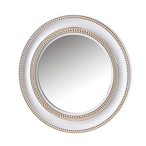 Espejo de Pared Redondo Luxury Blanco y Dorado de Polipropileno,