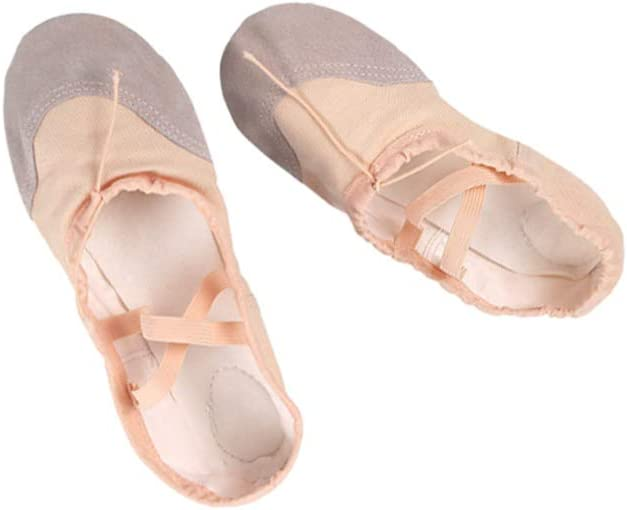 HEALLILY Ballet Shoes Yoga Dance Slippers Adults Ballet Flats Canvas Leather Anti-Slip Ballet Practice Shoes for Unisex Skin Color (44)