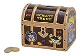 Topshop24you Preciosa hucha con diseño de cofre del tesoro pirata de cerámica en color marrón.