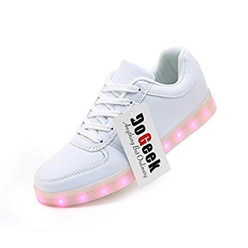 DoGeek Unisex Hombres Mujeres 7 Colores Light Up LED Zapatos Blanco Negro (Elegir 1 tamaño más Grande) (39 EU, 1 Blanco)