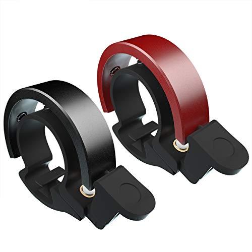 Cevikno 2 Pack Mini Fahrradklingel Fahrradlenkring Klingel Sicherheitswarnung Fahrrad Glocke laut und hell (Rot+Schwarz)
