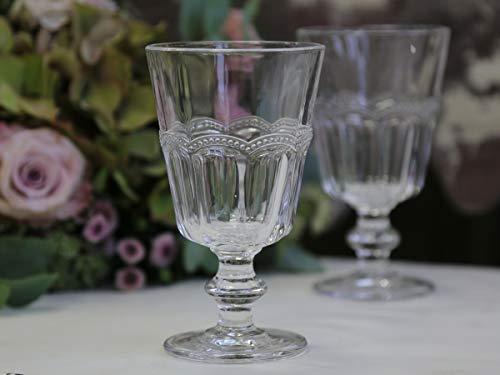 Chic Antique 4er Set Weinglas Trinkglas mit Perlenkante 'Antoinette' 8,5 x 14,5 cm Landhaus Shabby Vintage