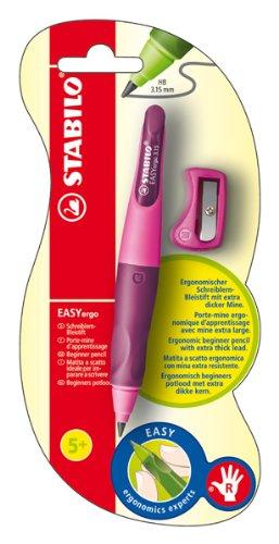 Ergonomischer Druck-Bleistift für Rechtshänder - STABILO EASYergo 3.15 in hellpink/dunkelpink - Einzelstift - inklusive 1 dicken Mine - Härtegrad HB & Spitzer