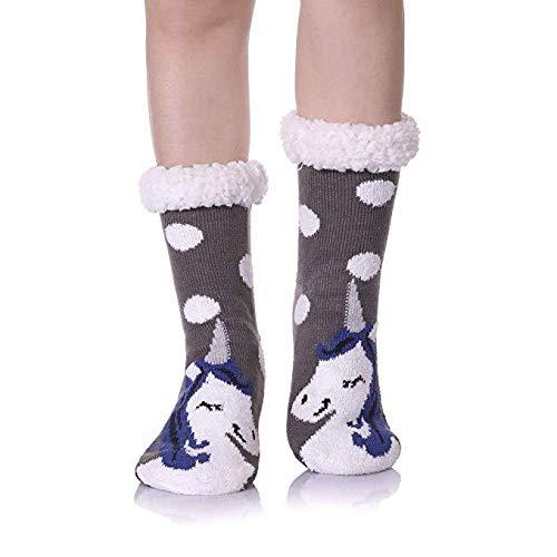 BAONUANM Slipper Sokken, Winter Warm Dikke Zachte Slip Grijs Dot Eenhoorn Volwassen Slipper Sokken Midden Tube Tapijt Sokken Kerstmis Nieuwjaar