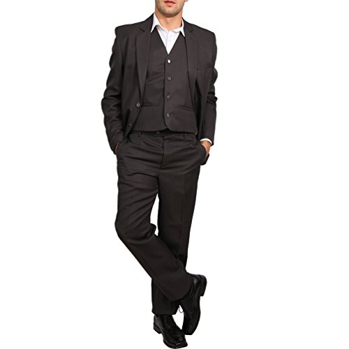 Candygirls Regular Herren Anzug 3Teiler Sakko Hose Weste Büro Business Hochzeit H10 (50, Dunkelgrau)