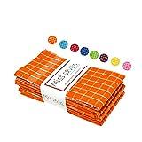 Miss Savon Trapos de Cocina naranja – Paquete de 5 Elegantes paños de Cocina algodón rizo de calidad 45 x 65 cm Ideales para secar cristales y platos en restaurantes