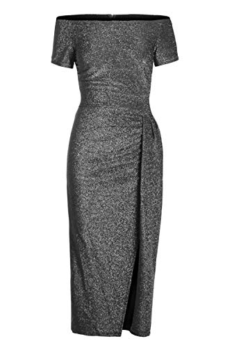 Womens Cocktail Party Midi Dress Sexy Clubwear Formal Casual Glitter Off Shoulder Fashion Ruched Slit Novelty Wedding Dress Black L