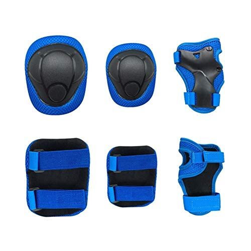 GJSC 6pcs / Set de la Rodilla Los niños/los Cojines de Codo de protección Engranajes for Longboard Patín de Ruedas en línea Protector (Color : Azul)
