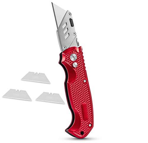 BirdRock Home Premium Utility Knife - Retractable Razor Knife Set - 3 Extra Blade Refills - Box Cutter Locking Razor Knife (Premium Utility Knife - Red)
