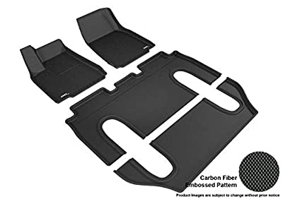 3D MAXpider Front Row Custom Fit All-Weather Floor Mat for Select Tesla Model X Models - Kagu Rubber ()