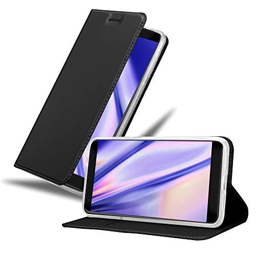 Cadorabo Hülle für ZTE Blade V9 in Classy SCHWARZ - Handyhülle mit Magnetverschluss, Standfunktion & Kartenfach - Hülle Cover Schutzhülle Etui Tasche Book Klapp Style