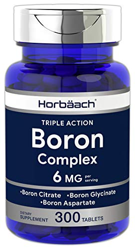 Triple Boron Complex 6 mg Supplement | 300 Tablets | Vegetarian, Non-GMO & Gluten Free | Triple Action Boron Citrate, Boron Glycinate, Boron Asparate | by Horbaach