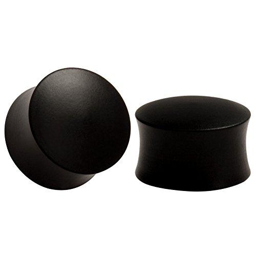 KUBOOZ Expansor de oreja de diseño de madera Negro/marrón Tapones de color sólido Medidor de perforación de oreja Tamaño 8-25 mm