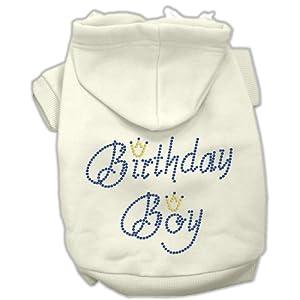 Mirage Pet Products 16-Inch Birthday Boy Hoodies, X-Large, Cream