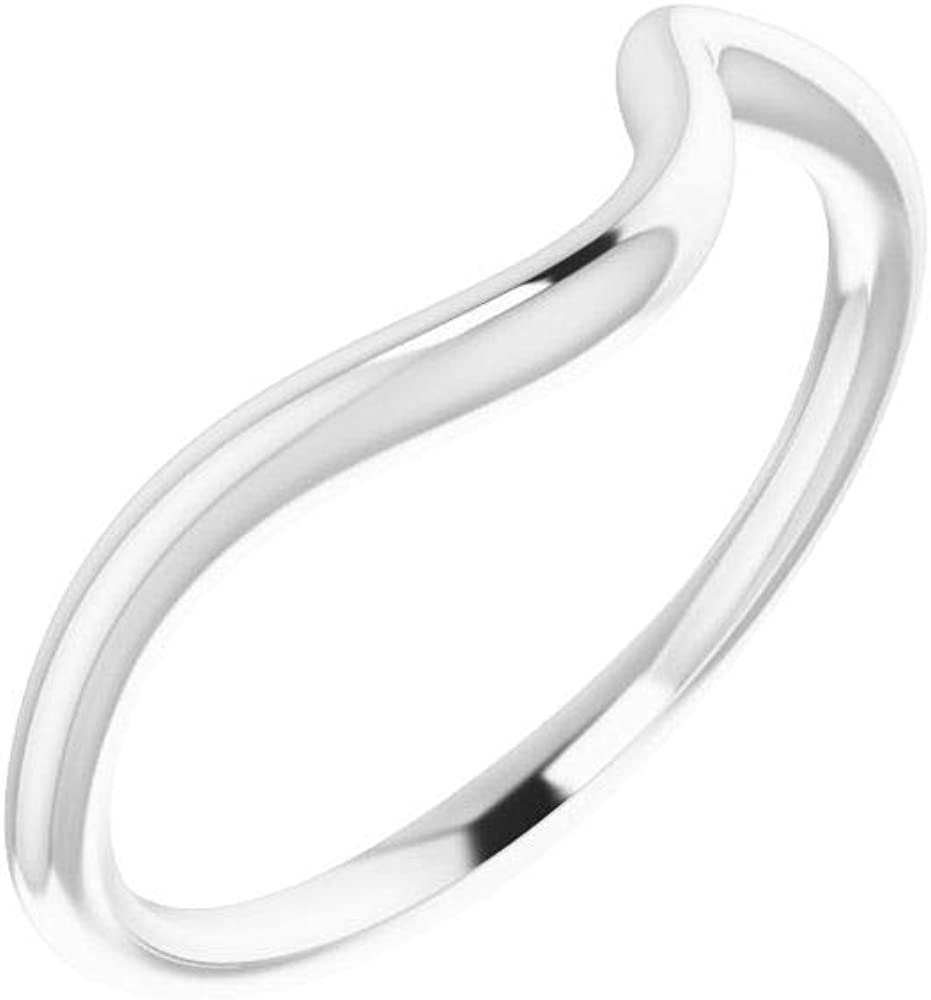 Solid 14k White Gold Curved Notched Wedding Band for 6.5mm Round Ring Guard Enhancer - Size 7