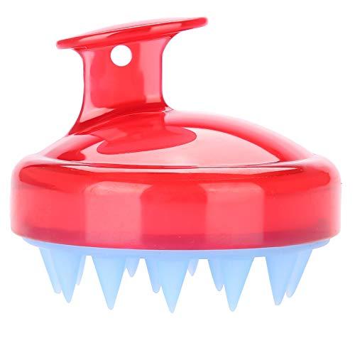 Ruiqas masajeador de cuero cabelludo de silicona cepillo de masaje con material suave y de seguridad peine con mango accesorios para el cuidado del cabello (rojo)